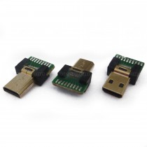 Micro HDMI Male Connector, Solder Type, With PCB